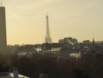 De Eiffeltoren vanuit ons hotel, Parijs