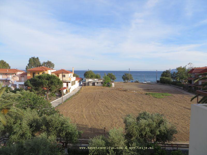 Uitzicht vanaf ons balkon, Mavrovouni, Griekenland