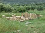 Restanten van een tempel, Messini, Griekenland