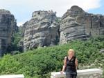 Het Grote Meteora klooster op de achtergrond, Griekenland