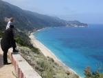 Strand aan de westkust van Lefkada, Griekenland