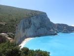 Het strand van Porto Katsiki van bovenaf, Griekenland