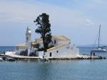 Het Vlacherna klooster bij Kanoni, Griekenland