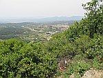 Uitzicht vanaf de bergen bij Polygyros, Griekenland