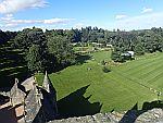 Uitzicht vanaf het dak van kasteel Fraser, Schotland