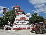 Een trekker voor de Dimitri kerk in Peplos, Griekenland