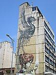 Muurschildering in Thessaloniki, Griekenland