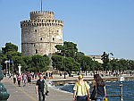 De witte toren in de haven van Thessaloniki, Griekenland