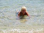 In de zee bij Sarti, Sithonia, Griekenland
