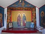 Binnenin een kapel langs de weg, Vergina, Griekenland