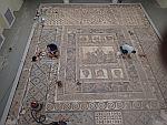 Herstel van het mozaiek van Dionisos in Dion, Griekenland