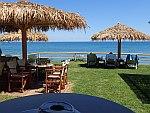 Uitzicht vanaf de Ifalos Beachbar in Ahios Sostis, Griekenland