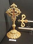 Verguld kruis in het zilvermuseum in Ioannina, Griekenland