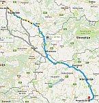 De route van dag 2, naar Servië, Servie