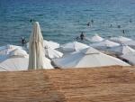 Het strand in Nea Kallikrateia, Griekenland