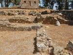 Restanten van de oude stoa, Sparta, Griekenland