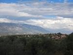 Uitzicht op de berg Ainos vanaf ons appartement, Griekenland