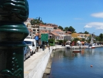 De haven van Evfimia, Kefalonië, Griekenland