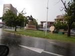 Ruiterstandbeeld in Skopje, Macedonie