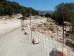 Inzakkende weg op Kefalonië, Griekenland
