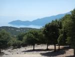 Uitzicht vanaf het klooster in Pilaros, Kefalonië, Griekenland
