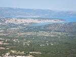 Zicht op Argostoli vanaf het Venetiaans kasteel St. George, Griekenland