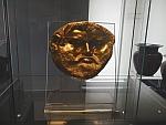 Gouden masker van koning Teres I in het archeologisch museum in Sofia, Bulgarije