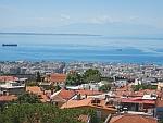 Het Olympus gebergte vanaf de Heptapyrgion gevangenis in Thessaloniki, Griekenland