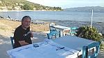 Terras aan de golf van Volos op het Pilion schiereiland, Griekenland