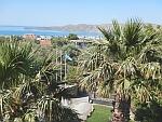 Uitzicht vanaf ons balkon in Karystos, Griekenland