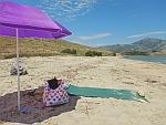 Ons strandje ten zuiden van Karystos, Griekenland