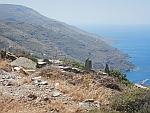 De kust vanaf Zagianaris op Andros, Griekenland